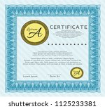 light blue diploma. cordial... | Shutterstock .eps vector #1125233381