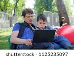 the father trains the son to...   Shutterstock . vector #1125235097