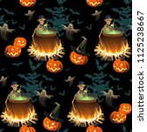 seamless halloween pattern with ... | Shutterstock .eps vector #1125238667