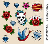 collection of tattoo elements... | Shutterstock . vector #1125239027