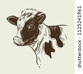 vector image of a calf's head | Shutterstock .eps vector #1125241961