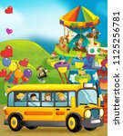 cartoon scene of kids playing... | Shutterstock . vector #1125256781