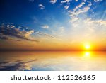 orange mystic sunset on the  sea | Shutterstock . vector #112526165