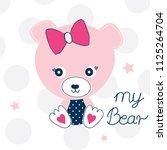 cute teddy bear girl on polka...   Shutterstock .eps vector #1125264704