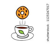 cartoon cookie and cup of tea... | Shutterstock . vector #1125267017