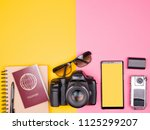 blogger ready for travel and... | Shutterstock . vector #1125299207