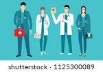 set   doctors in uniform   men... | Shutterstock . vector #1125300089