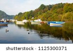 boats moored on windermere lake ...