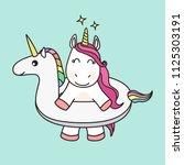 cute cartoon unicorn vector... | Shutterstock .eps vector #1125303191