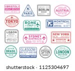 collection of passport visa... | Shutterstock .eps vector #1125304697