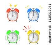 cartoon alarm clock ringing....   Shutterstock .eps vector #1125313061