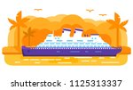 cruise ship old retro.summer... | Shutterstock .eps vector #1125313337