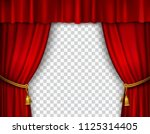 red stage curtain realistic... | Shutterstock .eps vector #1125314405
