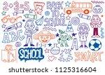 back to school funny doodle set ... | Shutterstock .eps vector #1125316604