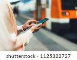 blogger hipster using in hands... | Shutterstock . vector #1125322727