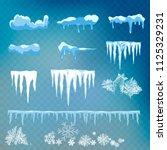 vector set of snow caps ...   Shutterstock .eps vector #1125329231