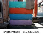 colorful wooden fence | Shutterstock . vector #1125332321