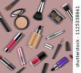 makeup seamless pattern. vector ... | Shutterstock .eps vector #1125338861