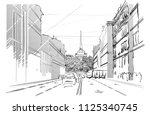black and white sketch of city... | Shutterstock .eps vector #1125340745
