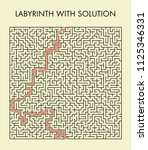 labyrinth with solution. | Shutterstock .eps vector #1125346331