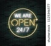 we are open 24 7 neon glowing... | Shutterstock .eps vector #1125346577