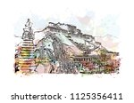 the potala palace in lhasa ... | Shutterstock .eps vector #1125356411