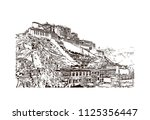 the potala palace in lhasa ... | Shutterstock .eps vector #1125356447