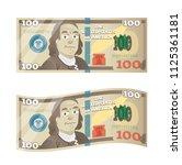 hundred dollars with franklin...   Shutterstock .eps vector #1125361181