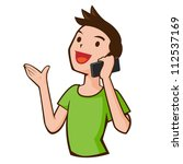 young casual man talking on the ... | Shutterstock . vector #112537169