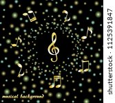 golden treble clef and musical... | Shutterstock .eps vector #1125391847