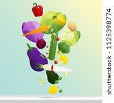 flying fresh vegetables concept ... | Shutterstock .eps vector #1125398774