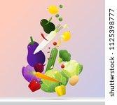 flying fresh vegetables concept ... | Shutterstock .eps vector #1125398777