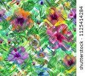 tropical pattern zig zag... | Shutterstock . vector #1125414284
