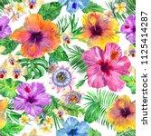 exotic pattern watercolour... | Shutterstock . vector #1125414287
