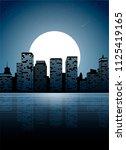 night city. dark urban scape.... | Shutterstock .eps vector #1125419165