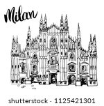 duomo cathedral in milan  italy.... | Shutterstock .eps vector #1125421301