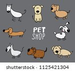 funny dogs doodle set. hand... | Shutterstock .eps vector #1125421304