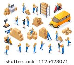 isometric delivery service ... | Shutterstock .eps vector #1125423071