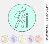 hiking treking icon icon flat...