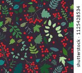 seamless pattern with rowan...   Shutterstock .eps vector #1125428534