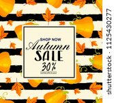 autumn sale flyer template with ... | Shutterstock .eps vector #1125430277