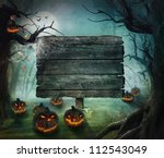 Stock photo halloween design forest pumpkins horror background with autumn valley with woods spooky tree 112543049