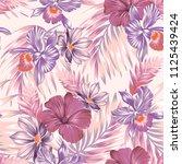 seamless vector orchids pattern.... | Shutterstock .eps vector #1125439424