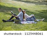 lovely students. couple of... | Shutterstock . vector #1125448061