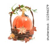Orange Pumpkin In Basket For...