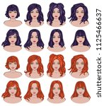 different hairstyles part 2 | Shutterstock .eps vector #1125466637