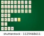 mahjong complete set on green...   Shutterstock .eps vector #1125468611