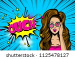 ouch  oops  surprise. caucasian ... | Shutterstock .eps vector #1125478127