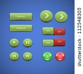 raised buttons green and red ui ...