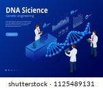 isometric digital dna structure ... | Shutterstock .eps vector #1125489131